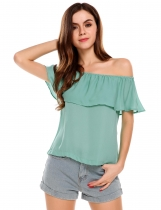 Green Off the Shoulder Slash Neck Solid Ruffles Chiffon Tops