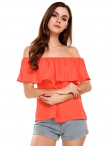 Red Off the Shoulder Slash Neck Solid Ruffles Chiffon Tops