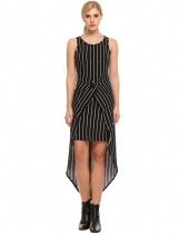 Black Sleeveless Front Cross Striped Asymmetrical Dress