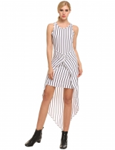 White Sleeveless Front Cross Striped Asymmetrical Dress