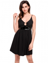 Black Sexy Parchwork Chiffon Hollow Out Pleated Hem Cami Dress