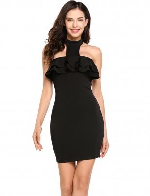 Black Grecian Backless Bodycon Trim Dress