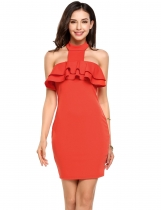 Orange Grecian Collar Ruffled Trim Backless Bodycon Dress