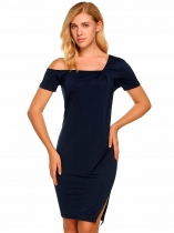 Navy blue Short Sleeve Solid One Shoulder Split Pencil Dress