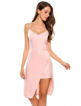 Pink Spaghetti Strap Backless Split Irregular Hem Dress