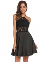 Black Halter Backless Lace Patchwork Skater Dress