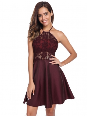 Wine red Halter Backless Lace Patchwork Skater Dress 286ddbc36