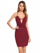 Wine red Spaghetti Strap Hollow Out Bandage Pencil Dress
