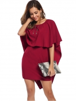 Wine red Backless Cape Sleeve Overlay Mini Sheath Dress