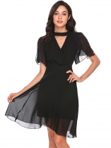 Black Mujeres Halter V cuello Split manga sólida ajuste y Flare Casual Party Chiffon Dress