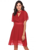 Rojo Mujeres Halter V cuello Split manga sólida ajuste y Flare Casual Party Chiffon Dress