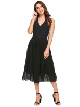 Black Open Back Solid Chiffon Dress