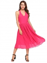 Rose Pink Open Back Solid Chiffon Dress