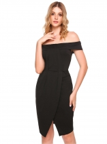 Black Off Shoulder Ruched Split Bodycon Dress