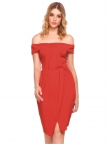 Red Off Shoulder Ruched Split Bodycon Dress