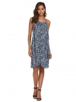 Blue Spaghetti Strap Sleeveless Floral Dress