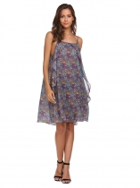 Purple Spaghetti Strap Sleeveless Floral Dress