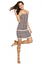 Multi Color Spaghetti Strap Sleeveless High Waist Print Dress