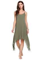 Green Spaghetti Strap Ethnic Style Fringe Asymmetrical Hem Dress