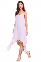 Purple Spaghetti Strap Ethnic Style Fringe Asymmetrical Hem Dress