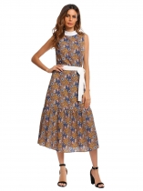 Coffee Stand Neck Sleeveless Floral Dress with Belt