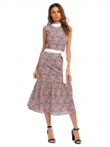 Pink Stand Neck Sleeveless Floral Dress with Belt