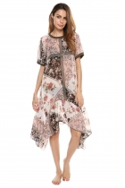Coffee O-Neck Short Sleeve Floral Loose Asymmetry Hem Dress