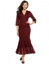 Wine red V-Neck Half Sleeve Lace Mermaid Fishtail Dress