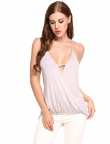 Gray Mulheres Sexy V-Neck Sólidos V Neck Cruz Hollow Out Asymmetrical Hem Plissado Elastic Cami Top