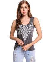 Gray O-Neck Sleeveless Prints Elastic Pullover Tank Tops