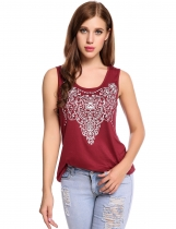 Wine red O-Neck Sleeveless Prints Elastic Pullover Tank Tops