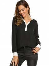 Black Long Sleeve Loose Split Neck Solid Chiffon Blouse