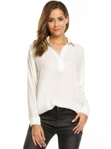 White Long Sleeve Loose Split Neck Solid Chiffon Blouse
