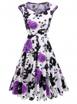 Purple Sleeveless Floral Print V Neck Dress