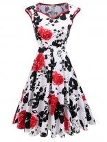 3ab6b3021af Red Sleeveless Floral Print V Neck Dress