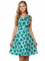 Peacock Blue Sleeveless Floral Tie-Neck A-Line Dress