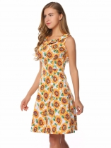 Yellow Sleeveless Floral Tie-Neck A-Line Dress