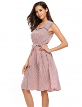 Red White Stripe Vintage Style Sleeveless Swing Dress With Belt