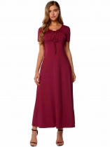 Wine red Short Sleeve Plain Tie-Neck Solid Dress