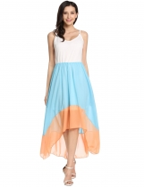 Lake blue Patchwork Asymmetrical Pleated Hem Spaghetti Straps Casual Dress