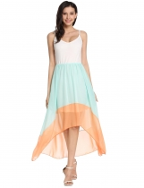 Light green Patchwork Asymmetrical Pleated Hem Spaghetti Straps Casual Dress
