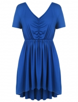 Blue Plus Size Solid Draped High Low Swing Hem Tunics