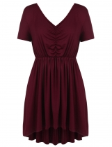 Dark red Plus Size Solid Draped High Low Swing Hem Tunics