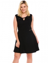Black Sleeveless Keyhole Skater Plus Size Dress