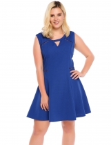 Blue Sleeveless Keyhole Skater Plus Size Dress