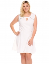 White Sleeveless Keyhole Skater Plus Size Dress
