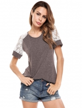 Brown Knit Short Lace Hollow Out Sleeve Patchwork Elastic T-Shirt