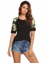 Black O-Neck Short Sleeve Camouflage Patchwork Pullover T-shirt