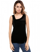 Black Women Casual Oblique V-Neck Sleeveless Mesh Patchwork Lint Elastic Tank Tops
