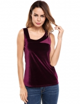 Wine red Casual Oblique V-Neck Mesh Patchwork Lint Elastic Tank Tops